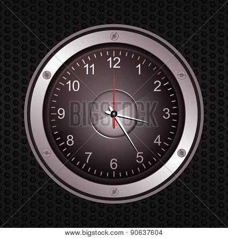 Clock In A Speaker On Black Metallic Background