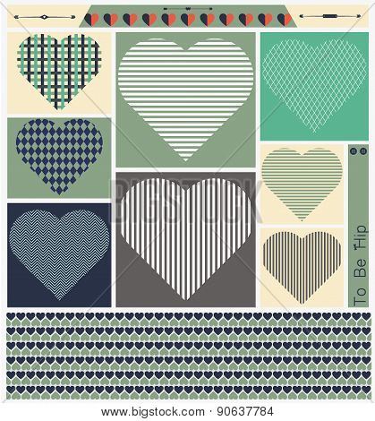 Hipster hearts art set