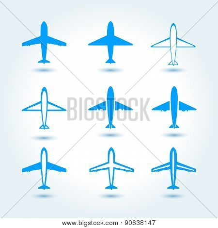Set Of Airplane Symbol