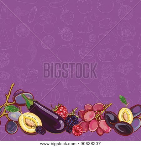 Set Of Purple And Pink Fruits And Vegetables On Light Purple Seamless Vector Pattern