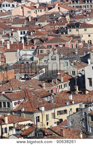 Roofs Of Many Houses In The Italian City