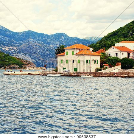 Old Fishing Village With Pier , Kotor Bay, Montenegro.