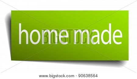 Home Made Green Paper Sign Isolated On White