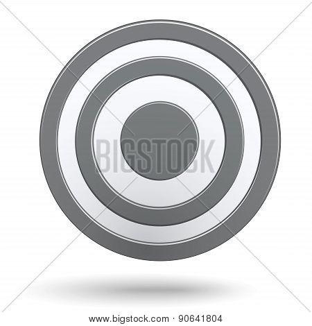 Grey Round Darts Target Aim Isolated On White Background