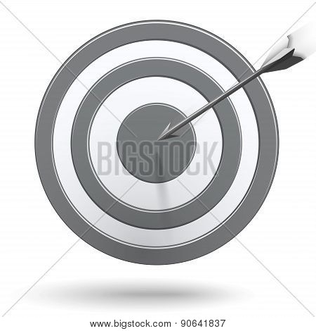 Arrows Hitting The Center Of The Grey Target - Success Business Concept
