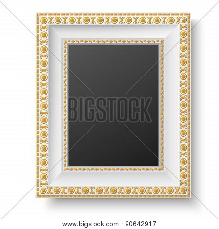 White Antique Style Frame With Golden Patterns Isolated On White Background