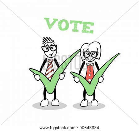 Digitally generated Cute cartoons showing green voting ticks