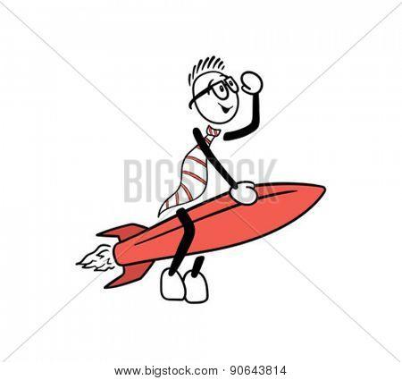 Digitally generated Cute cartoon riding a rocket