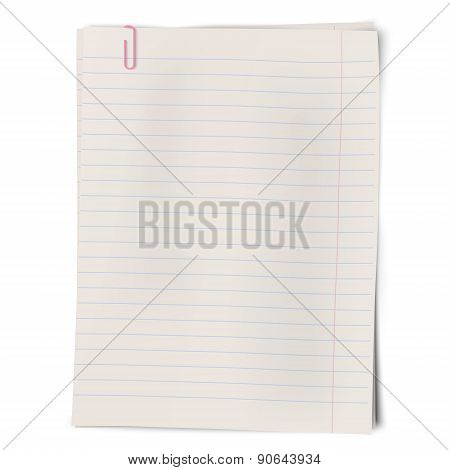 Clipped Pile Of Lined Sheets Of Notebook Paper Isolated On White Background