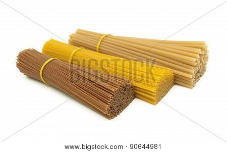 Pasta Isolated On White Background Close Up.