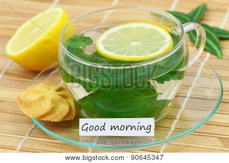 Good morning card with cup of mint tea and lemon