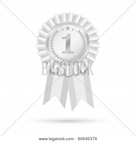 Black And White, Grey Or Gray Ribbons Award Isolated On White Background