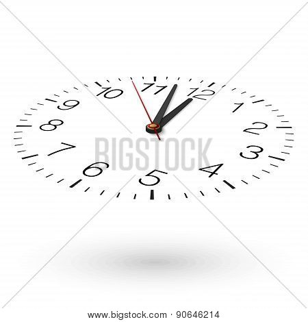 Vector Clock Placed On White. Nearly Twelve. View From Above And One Side.