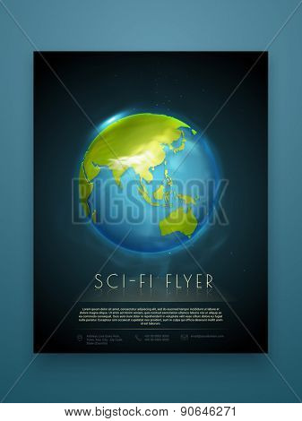 Creative professional flyer, template or brochure design for business presentation with shiny globe.