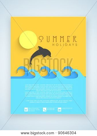 Summer holidays flyer, template or brochure design with silhouette of a jumping fish.