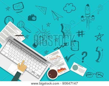 Illustration of a human hand working on a laptop with various infographics elements on blue background.