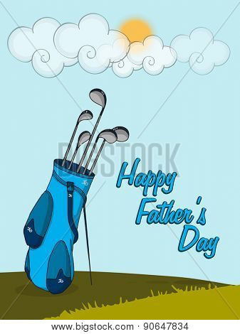 Happy Father's Day celebration with golf clubs in a blue bag on nature background.