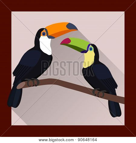 Toucans On A Branch In Flat Style