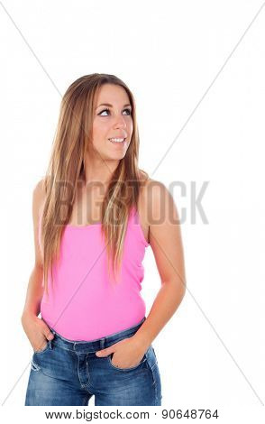 Cool woman dressed in pink looking up isolated on white background