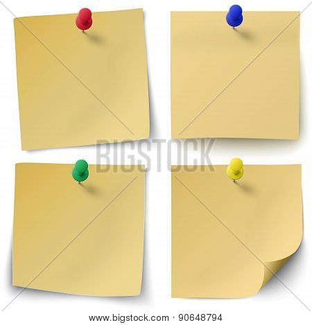 Set Of Yellow Sticky Notes Isolated On White Background With Red, Green, Blue Push-pins.