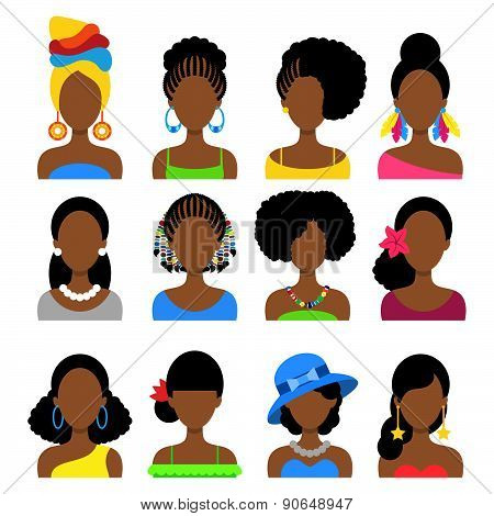 Set Of Flat Icons With Different African Women Fashion Styles