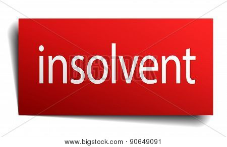 Insolvent Red Square Isolated Paper Sign On White