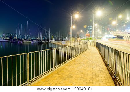footpath and road near yacht harbor
