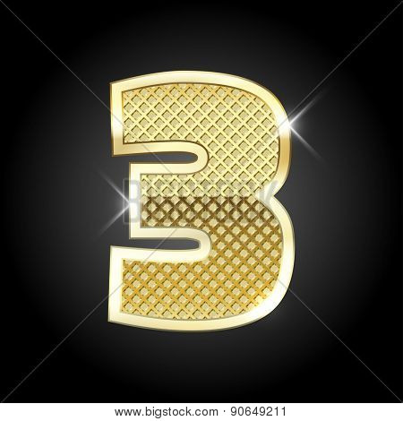 Vector metal gold letter of number three (3)