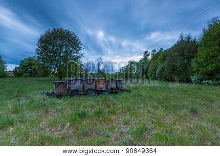 Bee Hives On Trail In Rural Landscape