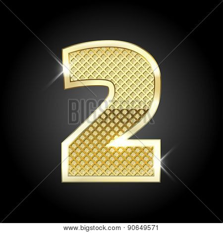 Vector metal gold letter of number two (2)