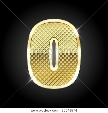 Vector metal gold letter of number 0 (Zero)