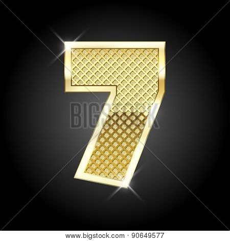 Vector metal gold letter of number seven (7)