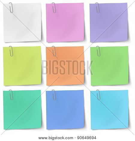 Colour Sticky Notes With Metallic Paper Clip