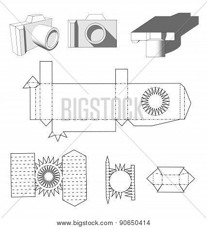 Camera paper. Paper Cuttings camera for your design or hobby. Papercraft in vector. Die cut Layout.
