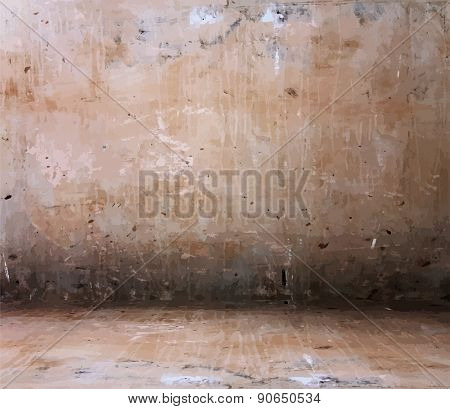 old grungy interior, vector