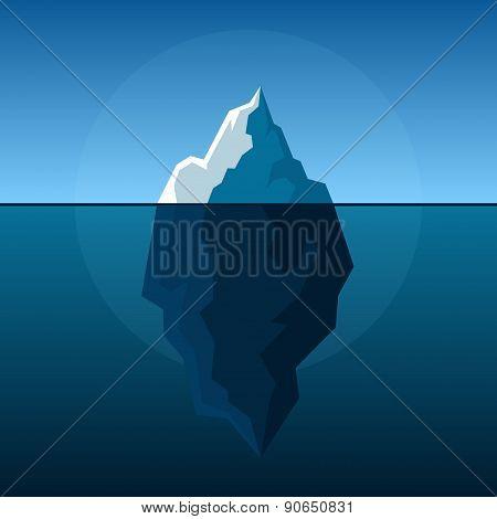 White Iceberg on Blue Atlantic Background Vector