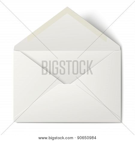 White Opened Envelope Isolated On White Background