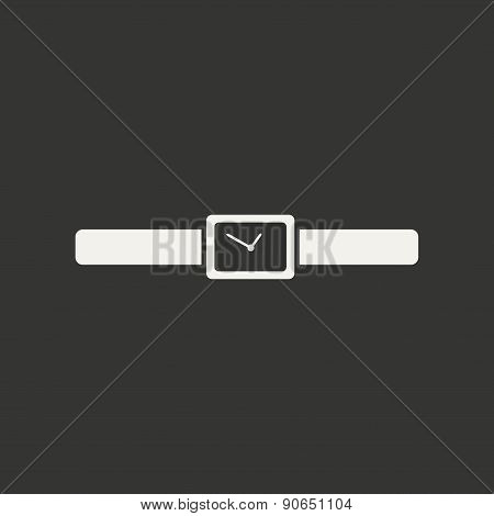 Flat in black and white mobile application wrist watch