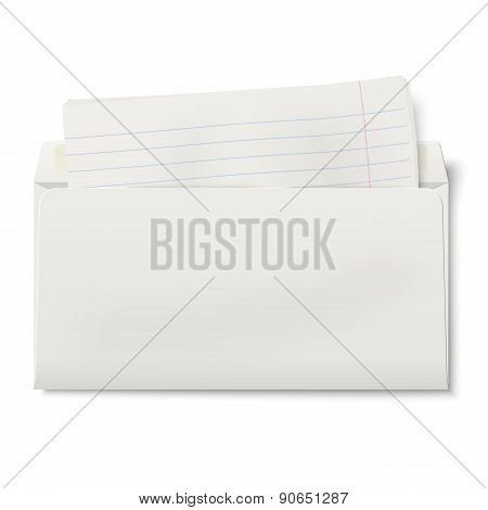 View Of Backside Of Opened Dl Envelope With Lined Paper Inside Isolated On White Background