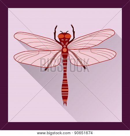 Dragonfly In Flat Style