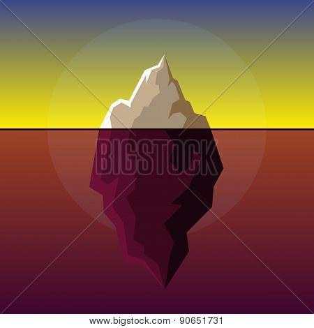 Iceberg on Sunset Atlantic Background Vector