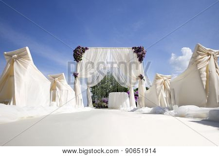 Festive Wedding Decoration And Blue Sky