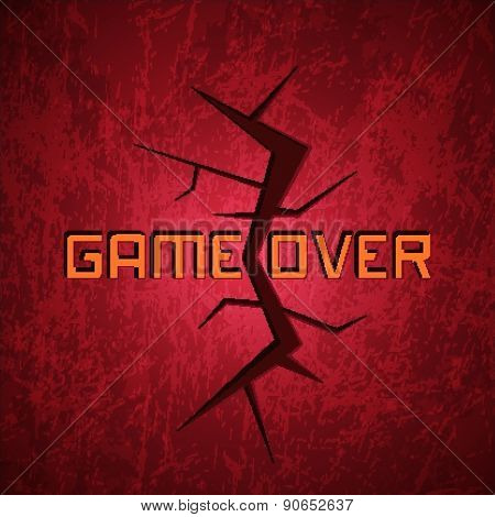 Game Over On Red Cracked Background
