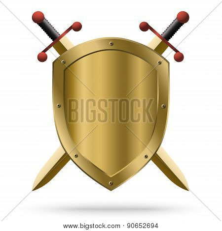 Double-edged Golden Swords And Medieval Shield
