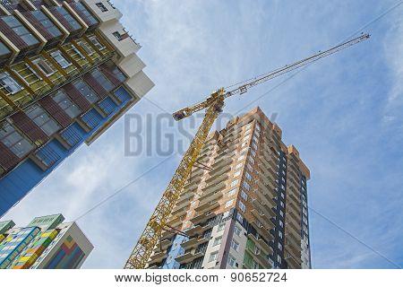 Construction Crane Near The High Building