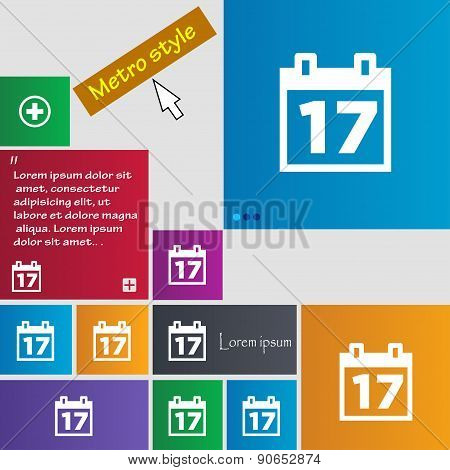 Calendar, Date Or Event Reminder Icon Sign. Metro Style Buttons. Modern Interface Website Buttons Wi