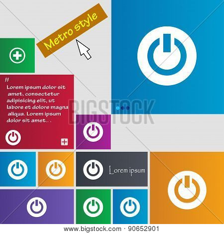 Power,  Switch On, Turn On  Icon Sign. Metro Style Buttons. Modern Interface Website Buttons With Cu