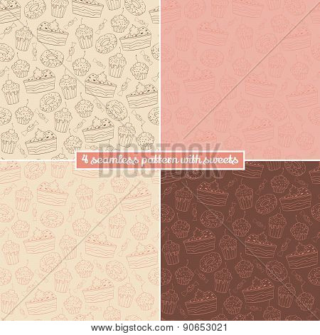 Set Of Four Seamless Pattern With Sweets