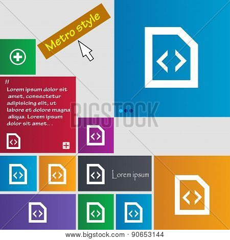 Programming Code Icon Sign. Metro Style Buttons. Modern Interface Website Buttons With Cursor Pointe