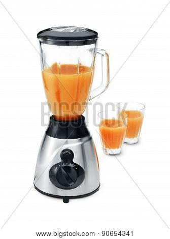 Blender With Two Glasses Of Juice
